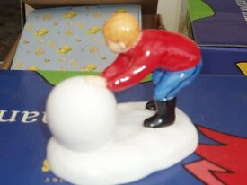 Coalport Snowman Figures - The Snowman - Building the Snowman