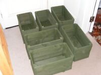 6 small oblong planters fully painted