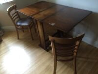 SLIM DROP LEAF GATE LEG TABLE WITH CHAIRS