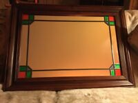Wooden framed mirror, 27x37 inches, lead stained decorated corners, excellent condition. £80 ono
