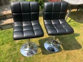 2 x bar stools in black faux leather