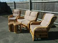 Wicker 2 seater + 2 chaies + 2 matching side tables