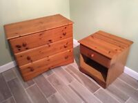 Pine Chest-of-Drawers & Bedside Table.
