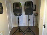 Pair of Gemini ES-15P , 15 inch, powered speakers. & Stands.