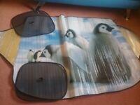 NEW LARGE PENGUIN DESIGN WINDSCREEN COVER & 2WINDOW SHIELDS