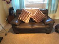 Leather 3 seater, 2seater and chair