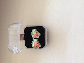 Shopkins earrings strawberry kiss