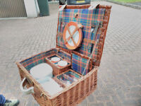 Classic wicker picnic hamper