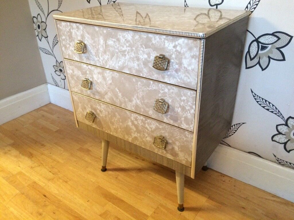 1960'S GREY MARBLE EFFECT 3 DRAWER CHEST