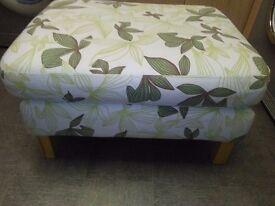 LARGE DOUBLE PADDED FOOTSTOOL / POUFFE, WITH LIGHT WOOD FEET SIZE 32 X 26 X 18 HG