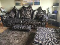 Zebra housing units sofa +pouffee/coffee table + footstool + statement chair