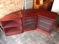 Dark Wood Corner Display Glass Door Units