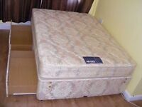 CAN DELIVER - MYERS DOUBLE DIVAN BED WITH 4 DRAWERS AND MATTRESS IN VERY GOOD CONDITION