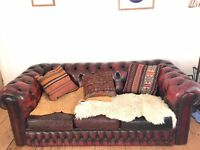 Leather Chesterfield Oxblood Sofa- second hand but gorgeous.