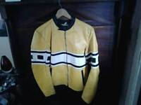 Yellow leather biker jacket