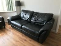 Black 3-seater Ikea leather Sofa bed