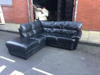 Dfs black L shape corner sofa