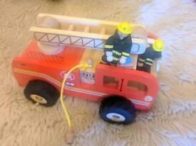 Children's large wooden fire engine