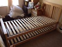 Oak Single Guest Bed with Trundle (Includes Two Orthopaedic Mattresses).