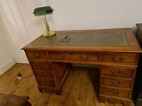 Vintage Green Leather Top Captains Writing Desk