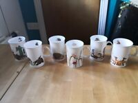 Set of 6 bone china wildlife coffee mugs / cups by Dunoon Pottery, BNWT £15