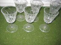 Six Cut Glass Wine Glasses for £3.00