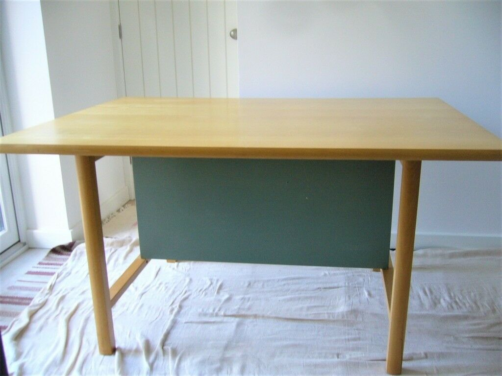 Large Ikea Office Worktable In Birch With Sage Green Under Table Panel 1050 X