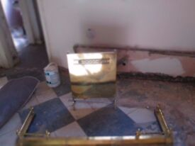 Brass hearth surround with brass guard for sale £45