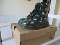 Dr Martens boots, black with tattoo style designs, size 4, only worn twice