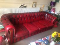 Rare vintage 4 seater oxblood leather chesterfield sofa/queen Ann chair/club chair/footstool