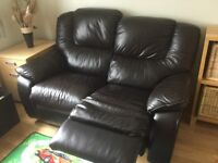 2seater brown leather and leather mix recliner sofa