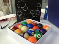 Set of boxed pool balls