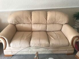 Cream 3 seater leather sofa 2 arm chairs