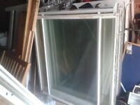 "8 X LARGE SOLID WOODEN WINDOWS WITH ALL GLASS PANES,51"" X 51"" FRAMES . SHED GARAGE BUILDING PROJECT"