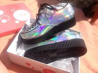 Silver holographic creeper platform shoes