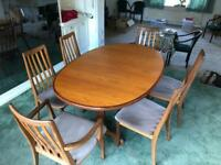G-Plan extending teak dining table and 6 chairs