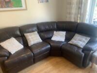 Brown leather manual recliner corner sofa
