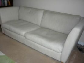 3piece suite (couch, chair, footstool), all in excellent condition, woven fabric in cream