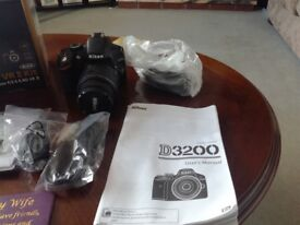 D3200 Nikon camera. All attachments included
