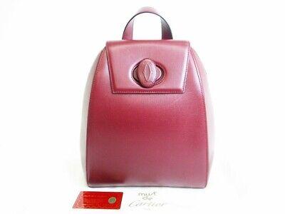 Authentic Cartier Must De Cartier Bordeaux Leather Backpack Bag #7427