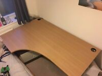 Heavy duty large solid curved office desk with metal legs