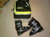SALOMON SENSIFIT EVOLUTION 7.0 SIZE 8 MENS BLACK SKI BOOTS + HEAD BOOT BAG