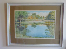 "R J Sarchet Signed Large Watercolour Painting River Arrow Wixford Warwickshire 27.5"" Large"