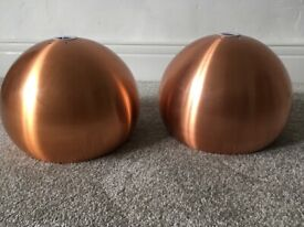 Pair of copper light shades