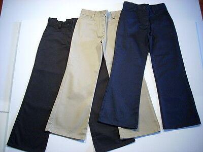 Navy Girls Flat Front Pant - GIRLS FLAT FRONT FLARE PANTS UNIVERSAL SCHOOL UNIFORM NAVY KHAKI BLACK NEW NWT