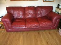 LARGE 3 SEATER RED LEATHER SOFA