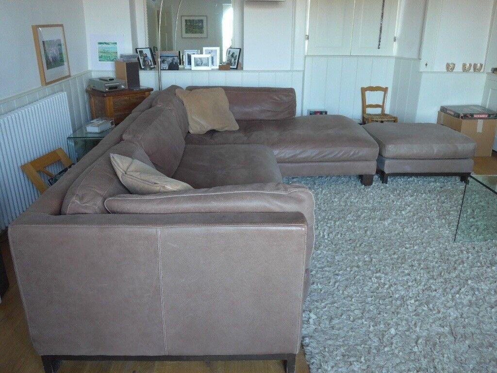 Large Soft Brown Leather Corner Sofa, DFS
