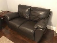 3 and 2 seater dark brown leather sofas