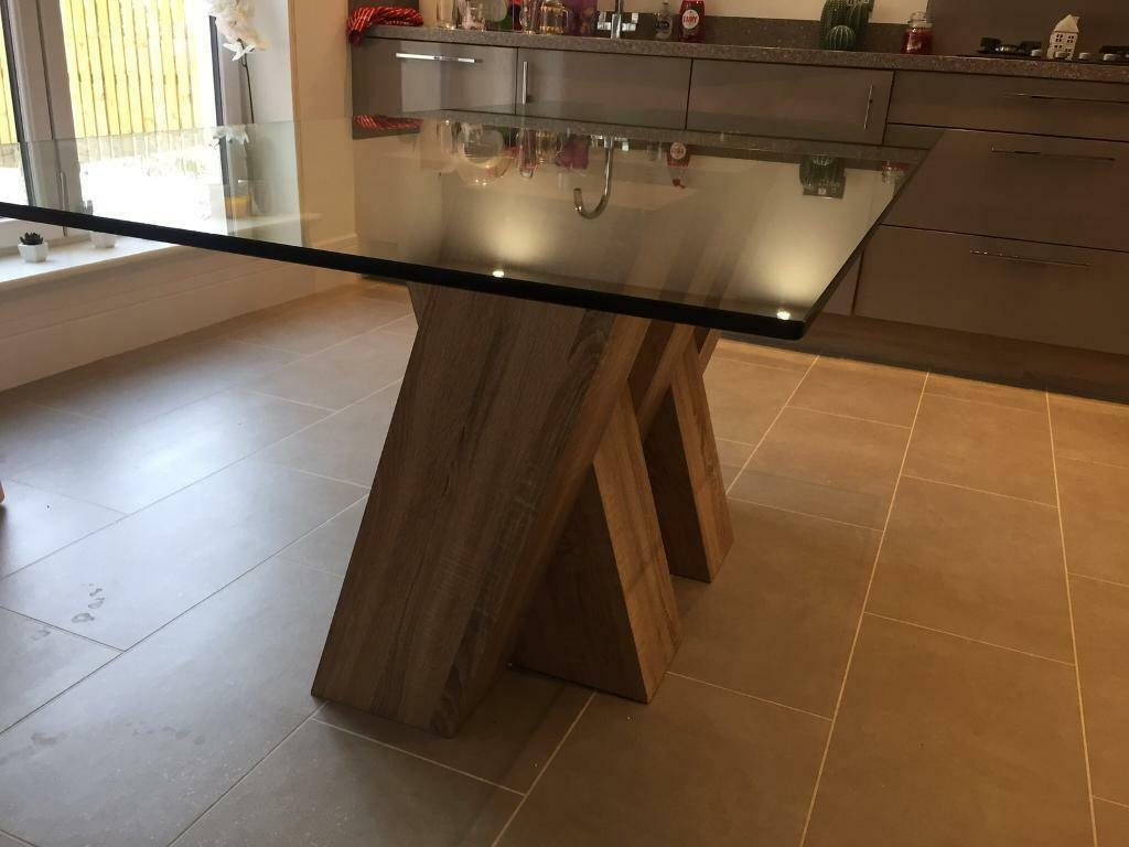 Piston Light Oak Glass Dining Table Harvey S