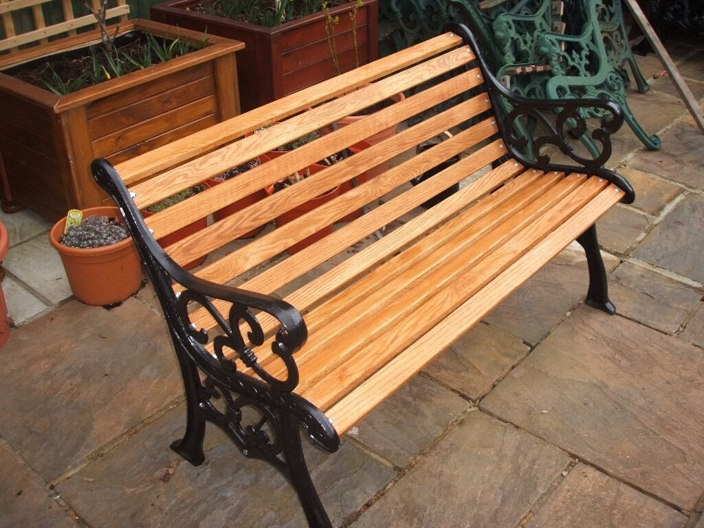 Cast iron refurbished garden bench with oak slats in lee - Wood and iron garden bench ...